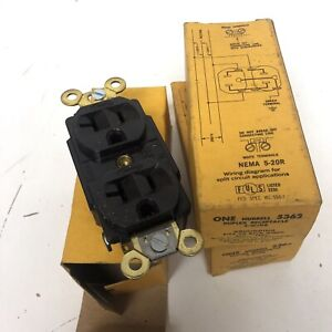 Lot of 3 Hubbell 5362 Receptacle Power Outlet Duplex Back & Side 2 Pole Brown