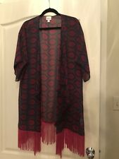 Lularoe Red Print Kimono Rayon New With Tags Monroe Size Large