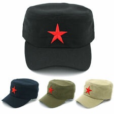 Men Cotton Army Cap Military Patrol Cadet Hat Sports Driving Adjustable Red Star