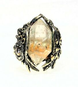 Ancient  Style White and Golden Bronze Ring-Herkimer Diamond Crystal-Size 8,5