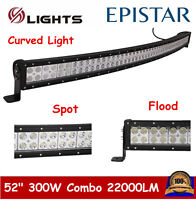 """Curved 52""""inch 300W LED Work Light Bar Combo Driving Off road SUV Car Boat 50/54"""