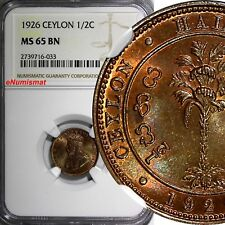 Ceylon George V Copper 1926 1/2 Cent NGC MS65 BN LAST YEAR TYPE KM# 106