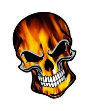 LARGE GOTHIC Biker SKULL & True Fire Orange Flames Motif vinyl car sticker Decal