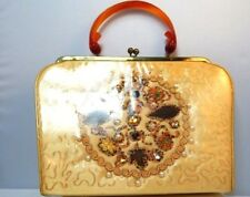 Vintage 1950s Plastic Abstract Handbag Beaded Jewel Purse Tortoise Loop Handle