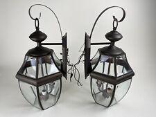 Pair Outdoor Wall Fixtures Lights Lantern Livex Monterey Lighting 2351 Bronze