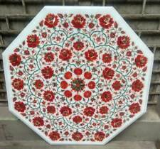 24'' White Marble Top Table Coffee Dining Pietra Dura Inlay Furniture Home Decor