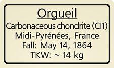 Meteorite label Orgueil
