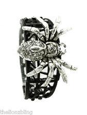 Gothic Punk Crystal Bling Tarantula Spider Pendant Black Stretch Bracelet
