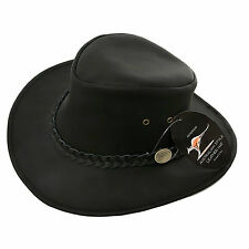 Gents 100% Leather Australian Cowboy Hat in Black - Size EXTRA LARGE