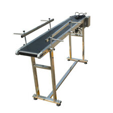 "110V Stainless Steel PVC Conveyor With Double Guardrail 59""L*7.8""W Speed Adjust"