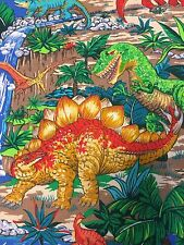 Colorful Dinosaur Cotton Fabric Joan Messmore Waterfalls Plants Quilt Sew 1.5 YD