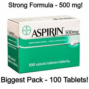 STRONG FORMULA - Asprin 500 mg - Genuine Bayer Product - Choose 20 or 100 Tablet