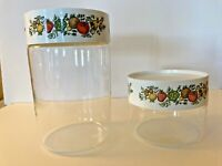 """VTG Pyrex SPICE OF LIFE Stacking Canister X 2. Corning Ware. 7 1/4"""" And 3 3/4""""."""