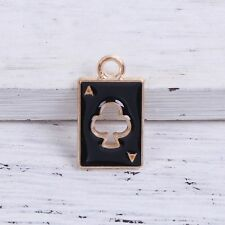 4 Enamel Black Ace of Clubs Gold Plated Charms Pendant