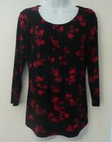 NEW Ladies ¾  Sleeve Black Red Floral Jersey stretch Top Size 8 14 16 18 20 22