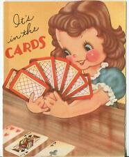 VINTAGE CUTE BRUNETTE GIRL DOG PLAYING DECK OF CARDS GAME ACE CLUBS CARD  PRINT
