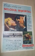 CG1 Original THE EDDY DUCHIN STORY KIM NOVAK MOVIE Poster Argentina 1956