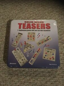 BRAND NEW Solid Wood Teasers 7 Challenging Games In Tin FACTORY SEALED