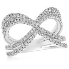 14K White Gold Pave Diamond Negative Space Right Hand Crossover Cocktail Ring