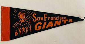 "1950s SAN FRANCISCO GIANTS MINI FELT PENNANT BANNER 4x9""l"