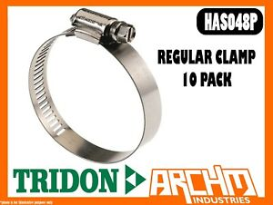 TRIDON HAS048P - REGULAR CLAMP HOSE 10 PACK 65MM-89MM PERFORATED ALL STAINLESS