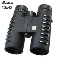 Asika Black Roof 10x42 Binoculars Bak-4 Prism Telescope for Birding Watching