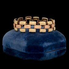Antique Vintage Art Deco 12K Rose Yellow Gold Filled GF Brick Tank Link Bracelet