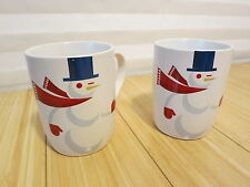 Pair of 2012 Starbucks Coffee Company Cup Or Mug Snowman & Bunny Rabbit