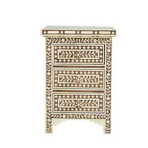 MADE TO ORDER Bone Inlay Indian Handicraft Bedside Cabinet Table Brown Floral