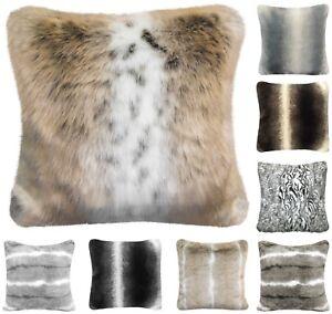 Faux Fur Mink Fox Stripe Arctic Soft Scatter Cushion Covers Cosy Fleece Blanket