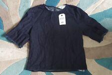 BNWT Miss Selfridge Denim Dark Blue Fringed Sleeve Top Size 10