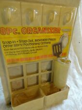 New Vintage Almond 8 Pc Snap In Moveable Wall Rack Organizer