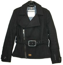 G-STAR 3301 Womens Peacoat Jacket Coat Belted WOOL INSULATED Black Size L Large