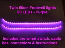 Twin 50cm Purple LED interior footwell light waterproof & flexible exterior neon