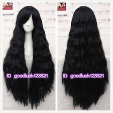 Rhapsody Black 95cm Long Curly Wave Synthetic Cosplay Hair Full Wig +a wig cap