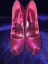 Bordello Pink Glitter Platform Heels 9