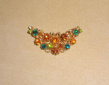 Crescent Shaped Rhinestone Pin in Gold & Green Rhinestones by Karu Jewelry