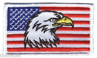 USA AMERICAN FLAG EAGLE 2 X 3  EMBROIDERED PATCH WITH HOOK LOOP