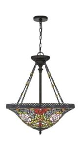 Quoizel Alyssa Tiffany Glass & Bronze Pendant Chandelier NEW IN BOX $699 Retail
