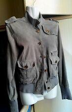 Giubbino giacca in vera pelle scamosciata