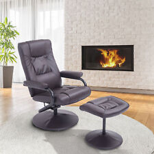 Contemporary Recliner Chair and Ottoman Set Swivel Armchair with Wrapped Base BN