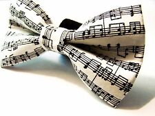 NEW FABRIC DOG BOW TIE * Music Notes * Handmade USA * FREE SHIPPING * Preppy