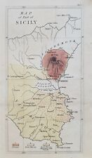 """Map of part pf Sicily, Italy 1835, hand-colored print, matted 8x10"""" to frame"""