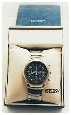 Seiko SNA485 Alarm Chronograph Date Black Dial Stainless Steel Watch