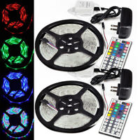 2X 5M SMD RGB 3528 Waterproof LED Strip light 44 Key IR Remote 12V US Power KIT