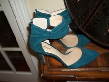 New Gianni Bini Teal Green Suede Leather High Heel Sandal Shoes 10M