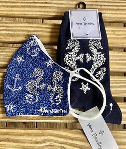 Vera Bradley SEAHORSE Socks & Cotton Face MASK NonMedical NWT RARE Navy BLUE New