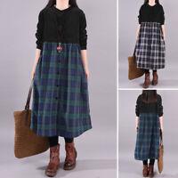 Mode Femme Loisir Coton Vérifier Manche Longue Col Rond Bouton Robe Dresse Plus