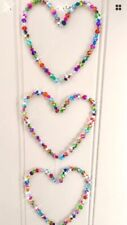 Sparkling Handmade Crystal Glass Hanging Hearts  Home or Garden 20inch 50cm Long