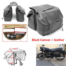 Black Canvas+Leather Motorcycle Bike Rear Tail Storage Bag Saddle Bags Universal
